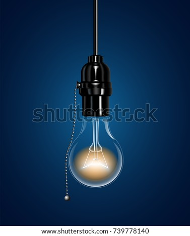 Realistic electric light bulb hanging ceiling stock vector 739778140 a realistic electric light bulb hanging from the ceiling an ebonite lamp holder with a aloadofball Image collections