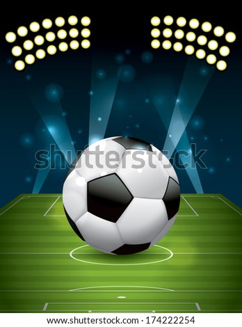 A realistic football - soccer ball on a textured grass playing field. Vector EPS 10. EPS file contains transparencies and gradient mesh. - stock vector