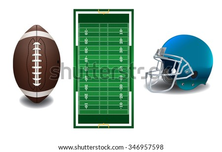 A realistic textured American football field, ball, and helmet isolated on a white background illustration. Vector EPS 10 available. EPS file contains transparencies and gradient mesh. - stock vector