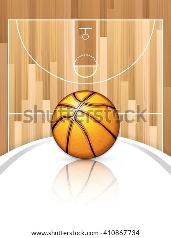 A realistic vector hardwood textured basketball court with basketball in the center court - stock vector