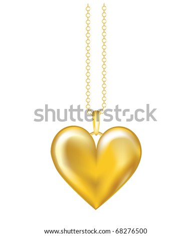 A realistic vector illustration of a gold locket on chain. Isolated on white background. EPS10 vector format. - stock vector