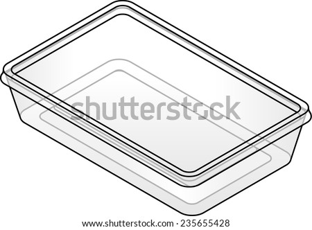 A rectangular clear plastic takeaway food container. - stock vector