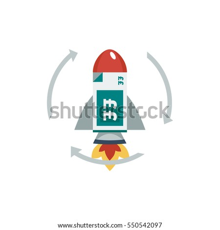 A red and grey rocket ship with a stack of teal green british pound sterling bank notes inside a circle of arrows vector illustration icon