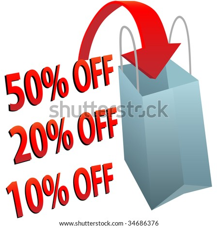 A red arrow points into a shopping bag to illustrate a big sale of 10 20 or 50 per cent off.