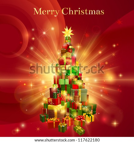 A red background design with a stack or pile of Christmas gifts or presents in the shape of a Christmas tree with a star decoration on the top and the text Merry Christmas - stock vector