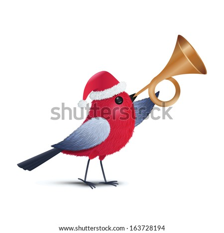 a red bird blowing a trumpet - stock vector
