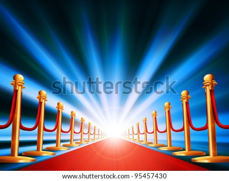 A red carpet leading to somewhere exciting with bright light and abstract background - stock vector