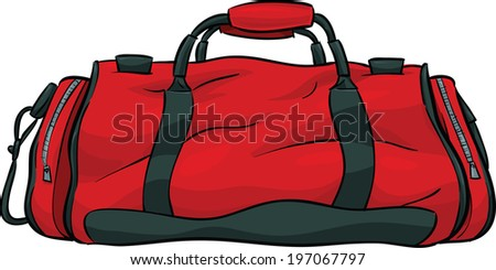 A red, cartoon gym bag.