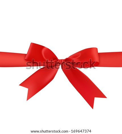 A red gift bow isolated on white background. Vector illustration. Realistic. Front view. - stock vector