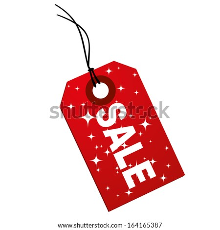 a red icon with white text and stars for sales