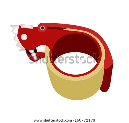 a red packing tape dispenser or adhesive tape dispenser for closing cardboard boxes isolated on