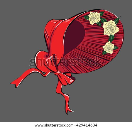 A Red Poke Bonnet with Roses and Bow. Freehand Drawing - stock vector