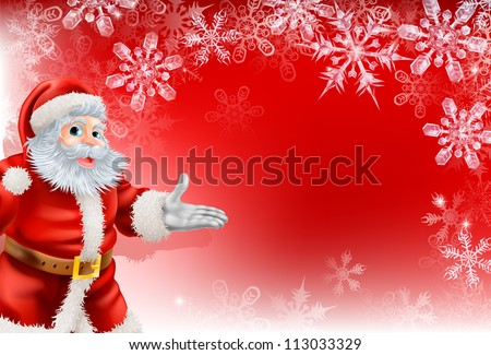 A red Santa Christmas snowflake background with very detailed illustration of Santa Clause and beautifully depicted transparent snowflakes.