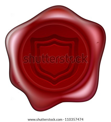 A red sealing wax seal with a shield motif embossed on it. Concept for guaranteed secure or similar. - stock vector