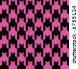 "A repeating, seamless ""cats"" pattern in black and magenta. - stock vector"