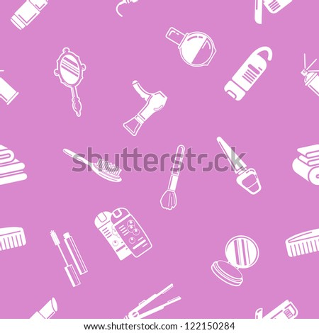 A repeating seamless cosmetics background tile texture with lots of drawings of different cosmetics and beauty products - stock vector