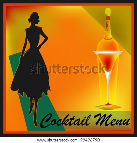 A retro Cocktail Bar Menu Template illustration - stock vector