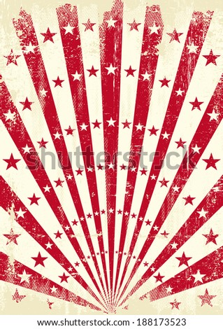A retro poster with red sunbeams
