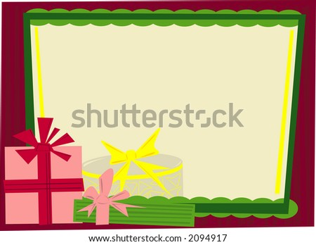 A retro stylized window with holiday gifts. Fully editable vector illustration. - stock vector