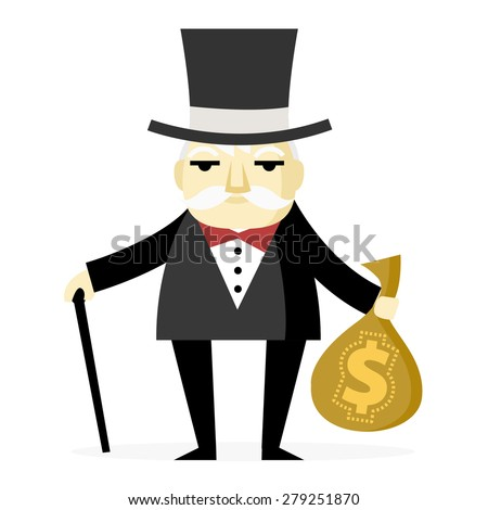 a rich old man with a cane and a bag full of money - stock vector