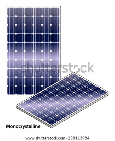 A rigid monocrystalline solar panel. - stock vector