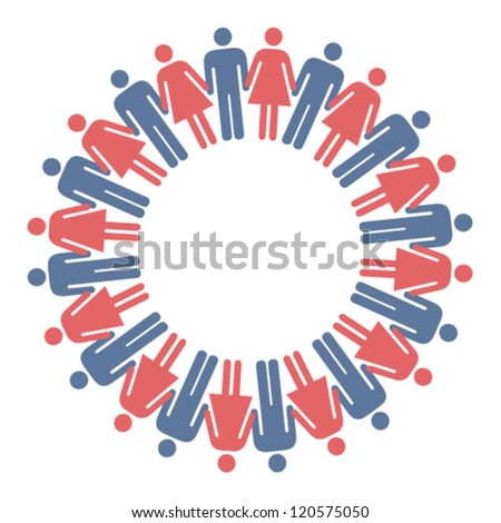 A ring of multi coloured male/female icons/figures holding hands. - stock vector