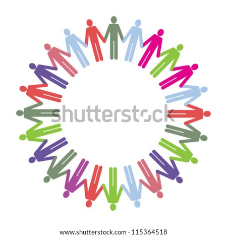 A ring of multi coloured people icons holding hands. - stock vector