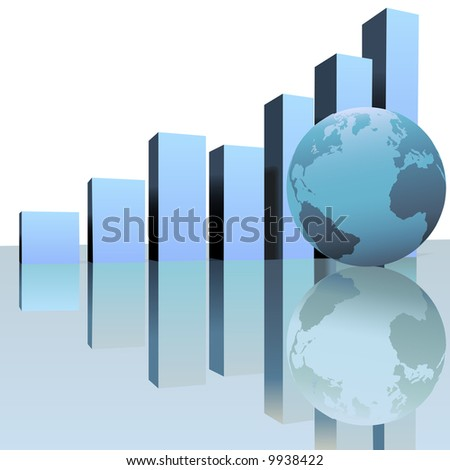 A rising chart graph predicts global worldwide growth with a globe as symbol of success and financial, business, or other increase . - stock vector