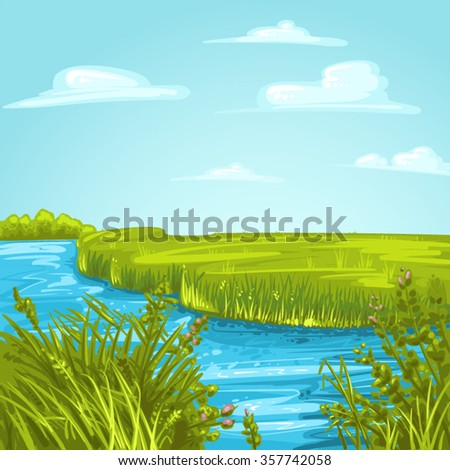 A river channel in delta - stock vector