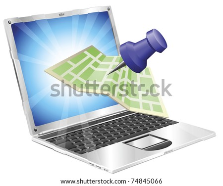A road or city map flying out of a laptop computer. Concept or icon for map app or internet website with maps or other GPS related. - stock vector