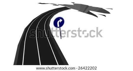 A road turn to hell - stock vector