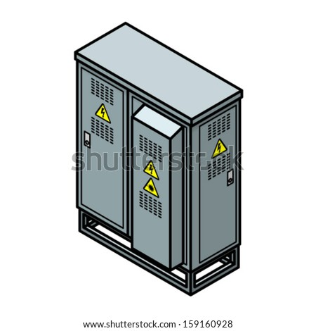 A roadside municipal telecommunications node cabinet with high voltage and laser radiation warning stickers. - stock vector