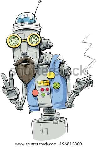 A robot hippie smoking a joint and making a peace sign.