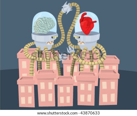 A robot with a brain and one with a heart fighting in a city. - stock vector