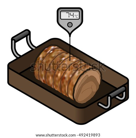 A roll of roast beef/lamb in a roasting pan with a meat thermometer showing the minimum safe cooking temperature of 74 C.