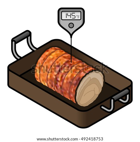 A roll of roast pork in a roasting pan with a meat thermometer showing the minimum safe cooking temperature of 145 F.