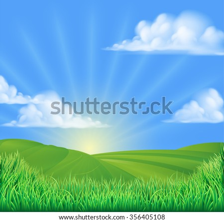 A rolling hills field sun background landscape illustration - stock vector