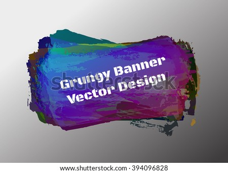 A rough banner made with transparent ink brushes, vector design. - stock vector