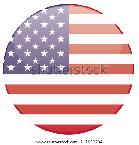 a round badge with the american flag on a white background - stock vector