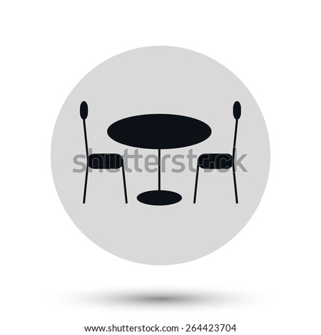 A round cafeteria table with chairs - black vector icon on a round gray button with shadow - stock vector