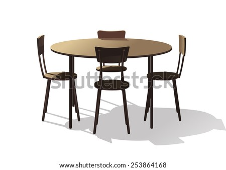 A round cafeteria table with four chairs - stock vector