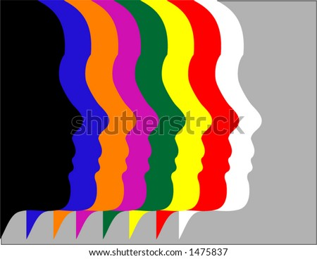 A row of heads or faces in vector format - stock vector