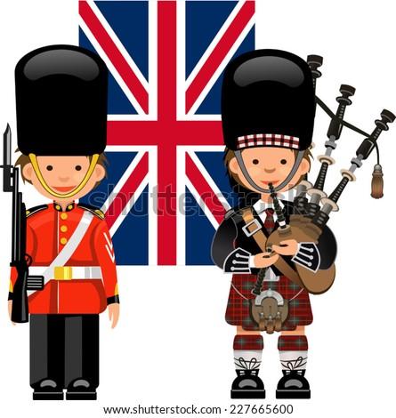 A Royal Guard & Scottish bagpiper. British flag - stock vector