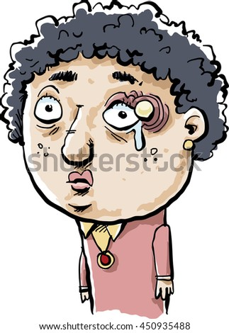 A sad cartoon woman with a large stye right above her eye. - stock vector
