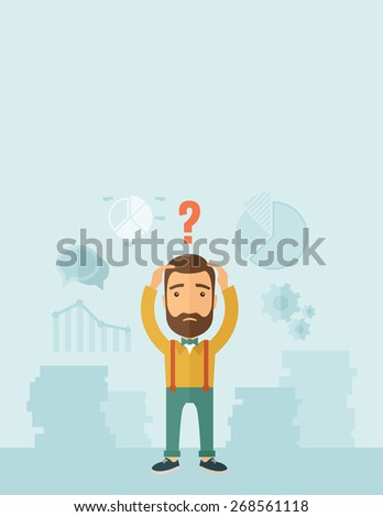 A sad Caucasian businessman with question mark over his head showing that he is in a big trouble. A contemporary style with pastel palette, soft blue tinted background. Vector flat design illustration - stock vector