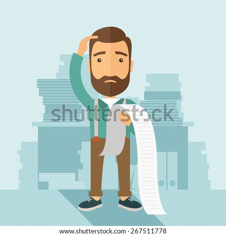 A sad hipster Caucasian man with beard standing holding a paper feels headache and worries about paying a lot of bills. Problem, worries concept. A contemporary style with pastel palette soft blue - stock vector
