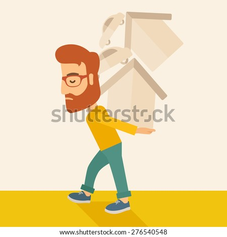 A sad man carrying house and car as his loan or debt from the bank. A Contemporary style with pastel palette, soft beige tinted background. Vector flat design illustration. Square layout. - stock vector