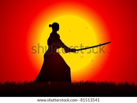 A samurai  stance with the sunset as the background