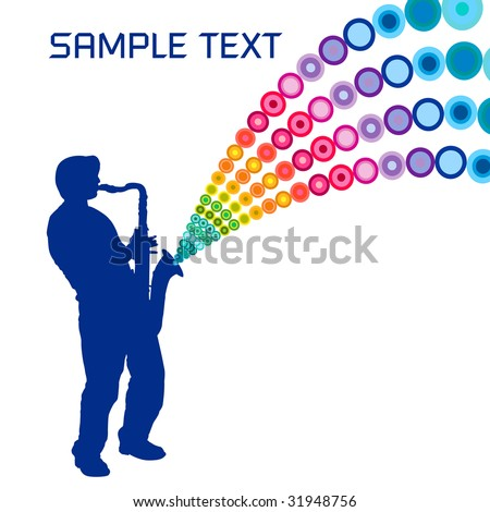 A sax player, playing a colorful tune - stock vector