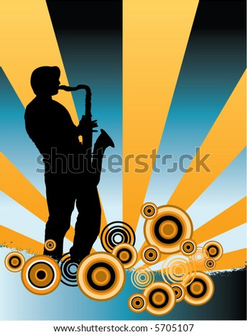 A sax player silhouette with music cascade plus grunge - stock vector